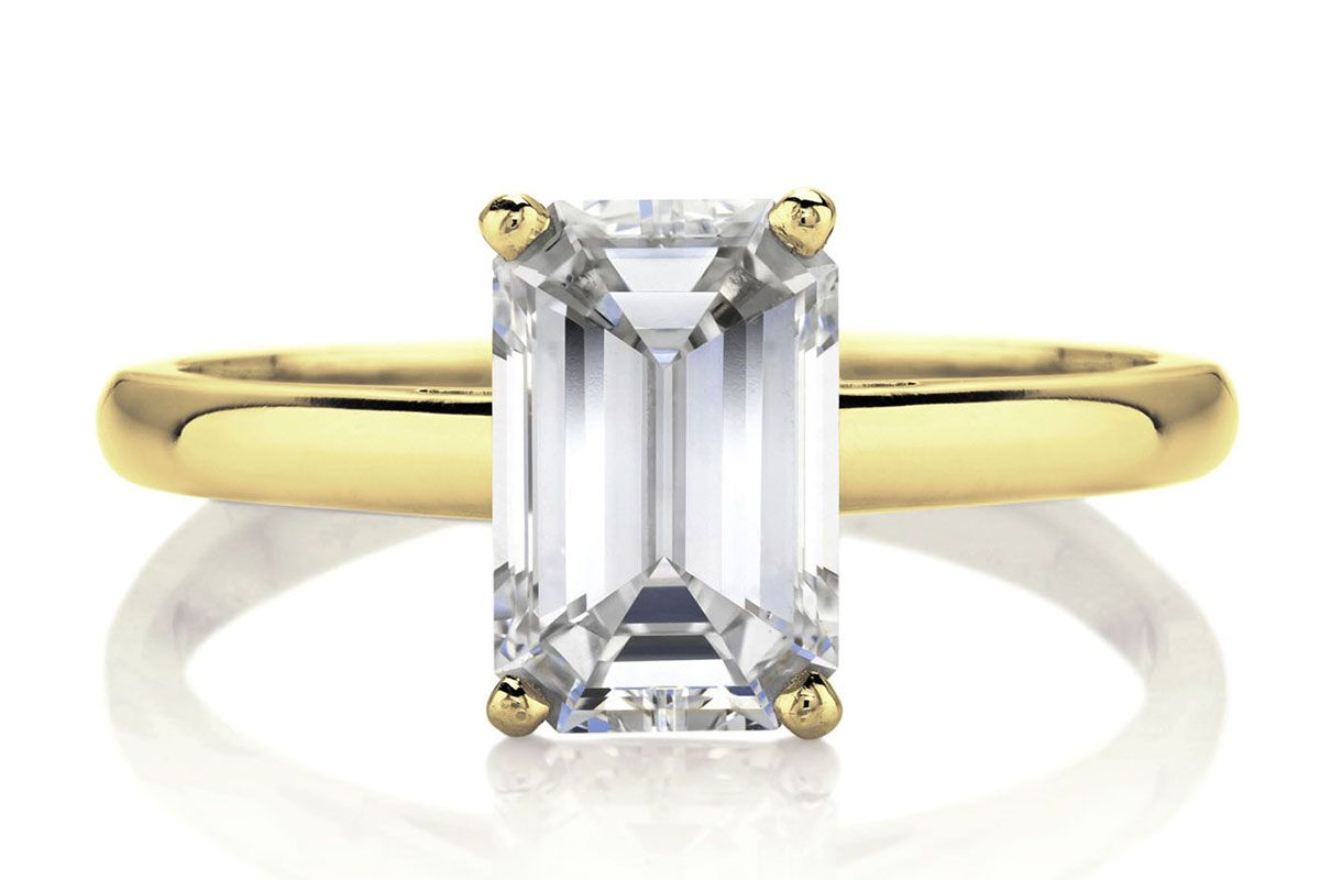 DB Classic Emerald Cut Yellow Gold Solitaire Ring