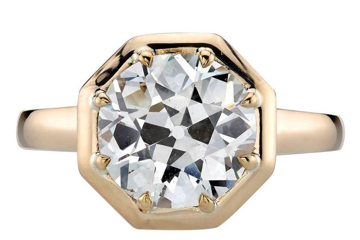 Yellow Gold GIA Certified Old European Cut Diamond Engagement Ring