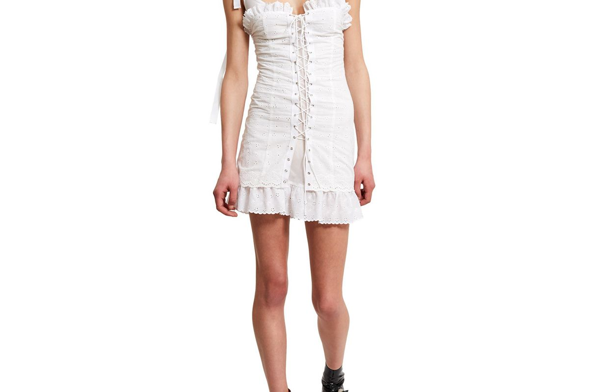 opening ceremony daisy broderie lace up corset dress