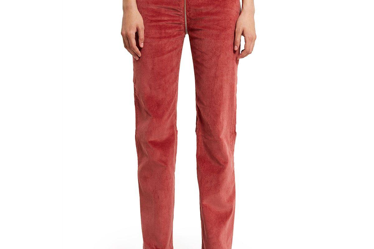 Corduroy Curved Seam Zip-Through Pants