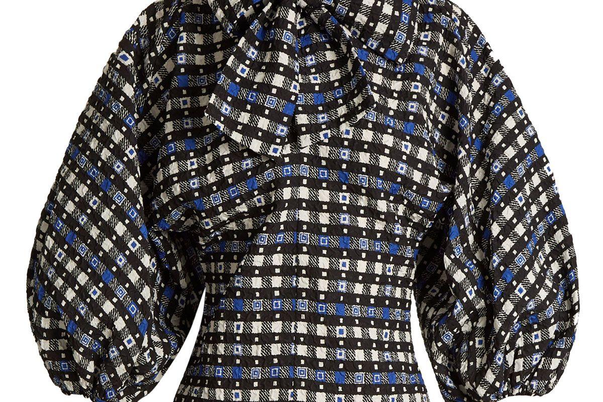 Napoli check-print tie-neck blouse