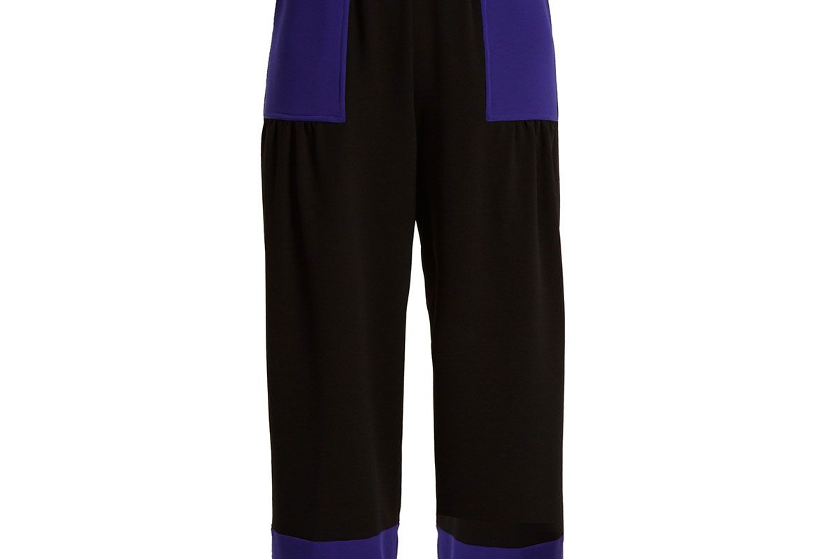 Contrast-panel high-rise crepe trousers