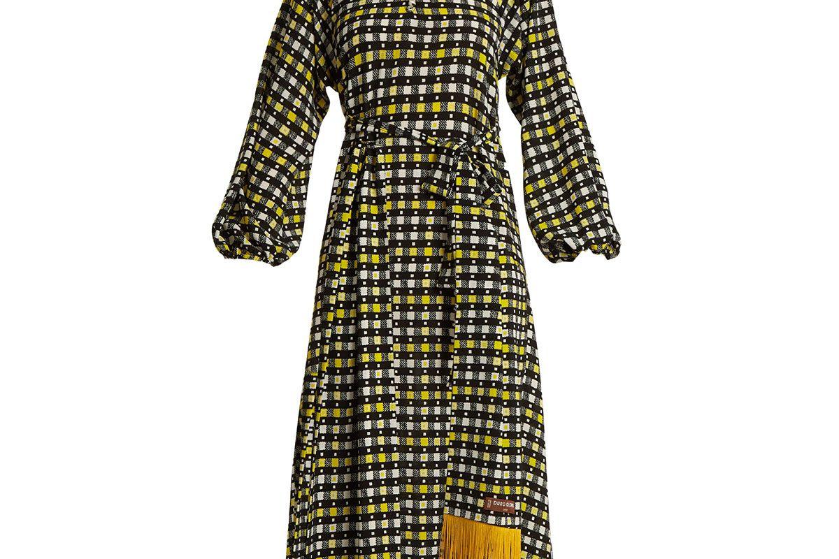 Napoli check-print puff-sleeved dress