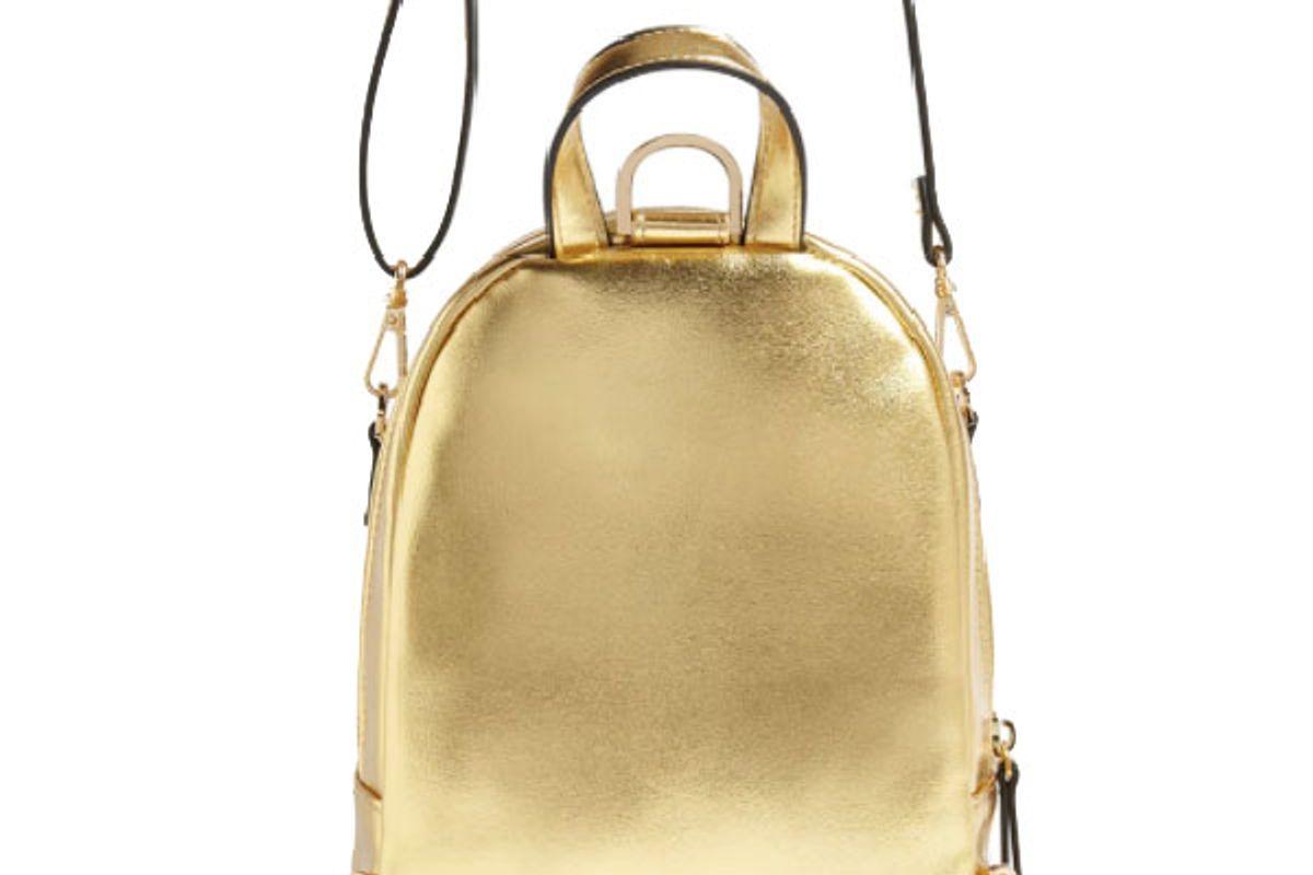 Faux Leather Mini Metallic Backpack