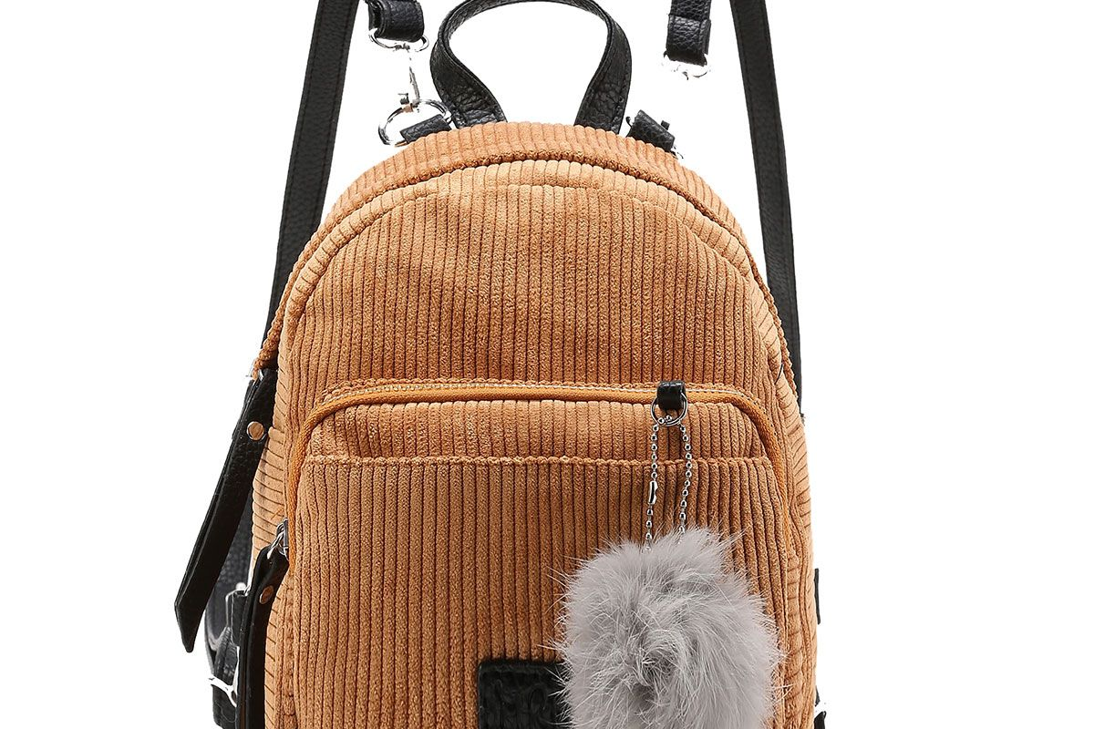 Pom Pom Decorated Corduroy Backpack