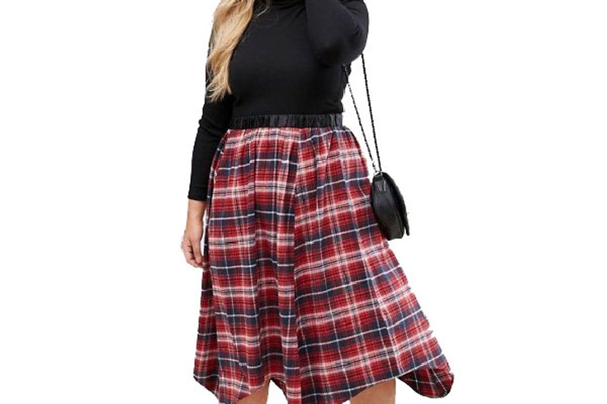 Curve Check Midi Skirt