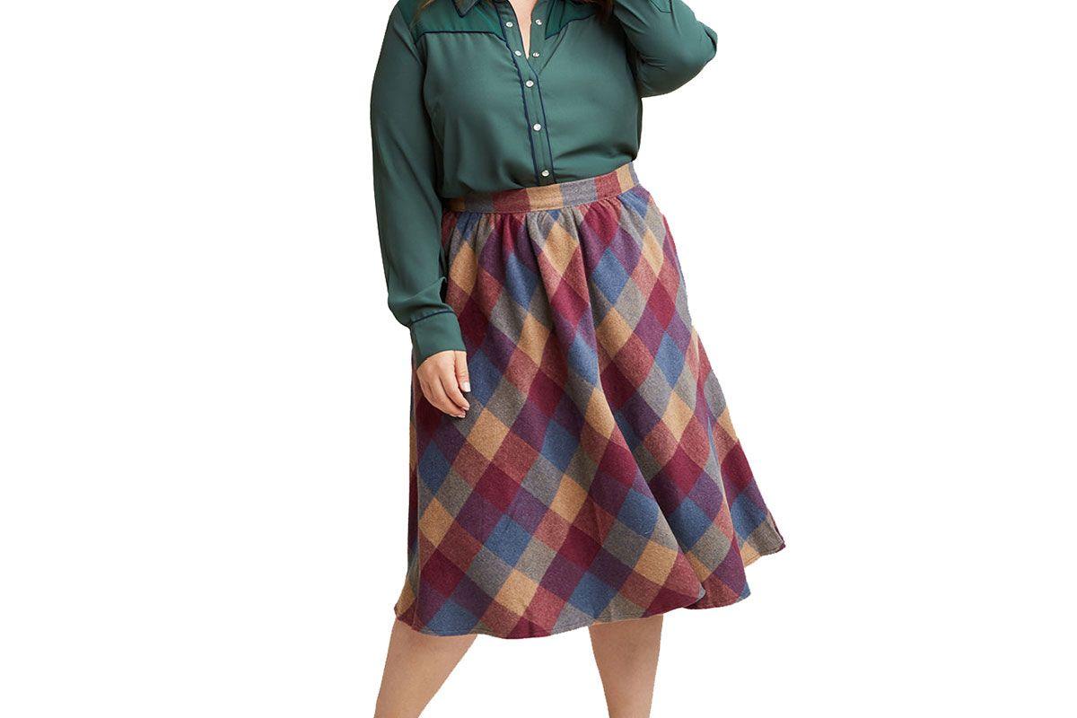 Sunday Sojourn Midi Skirt in Warm Plaid