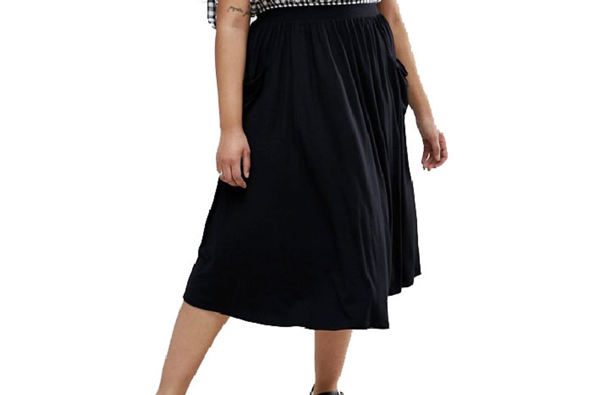 Curve Jersey Midi Skirt with Pockets