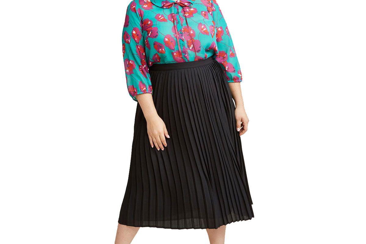 Pleated Chiffon Midi Skirt in Black