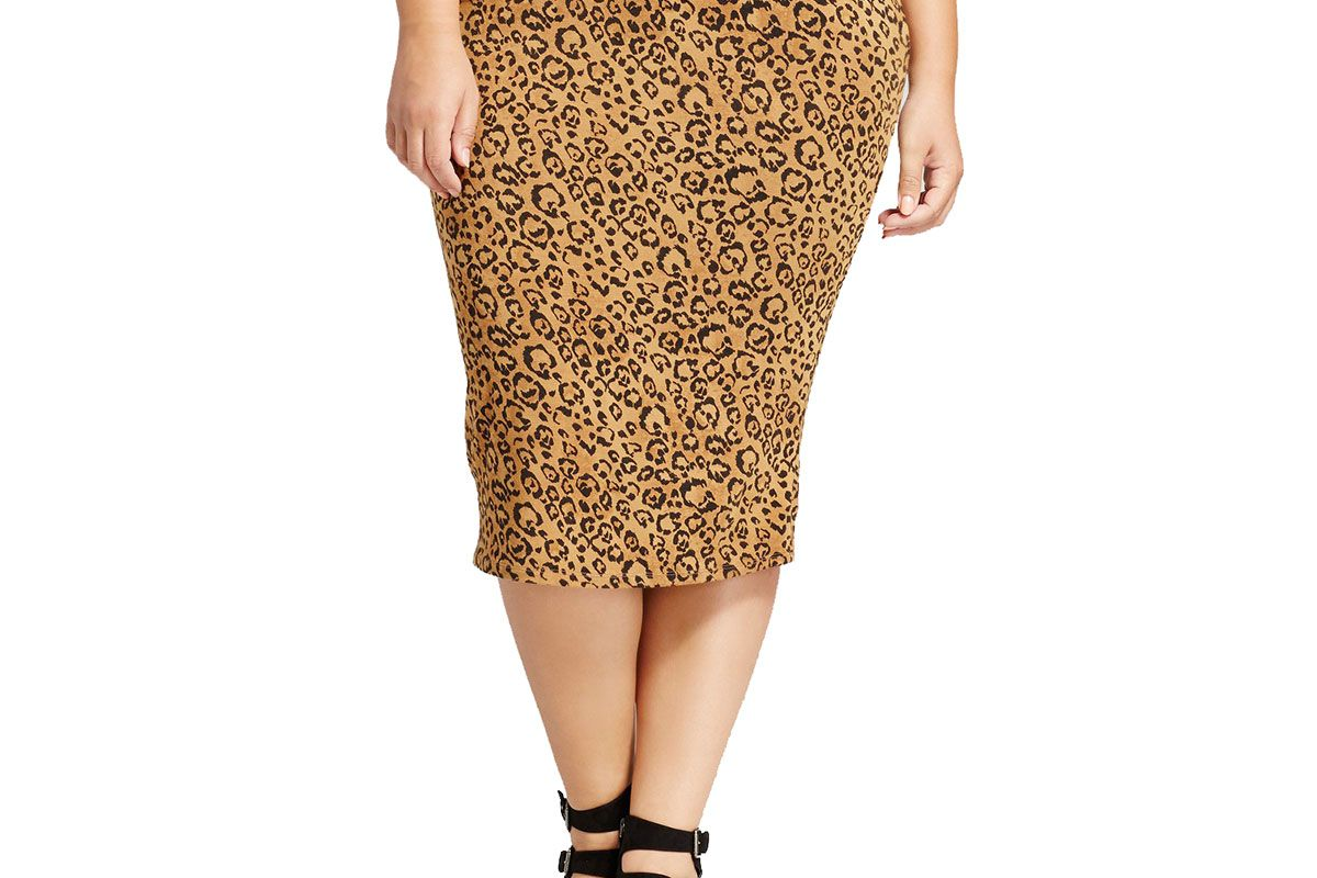 Women's Plus Size Ribbed Animal Print Midi Skirt