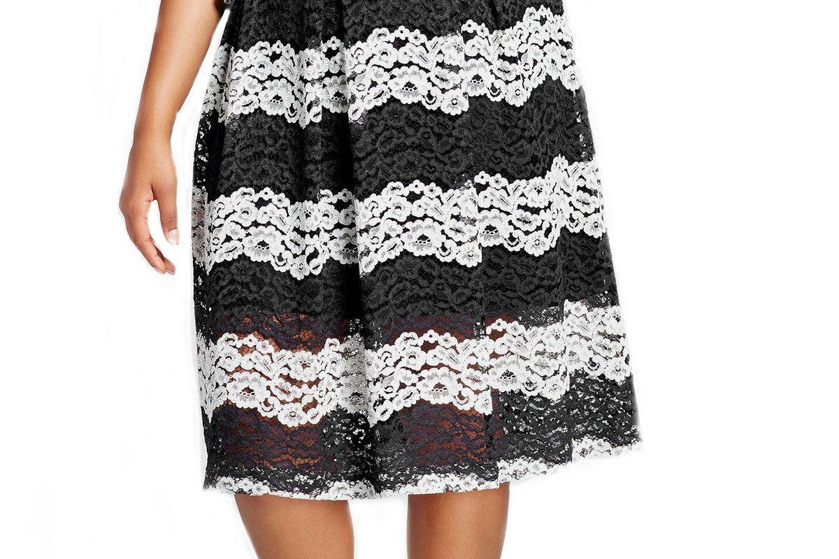 Women's Plus Size Lace Midi Skirt