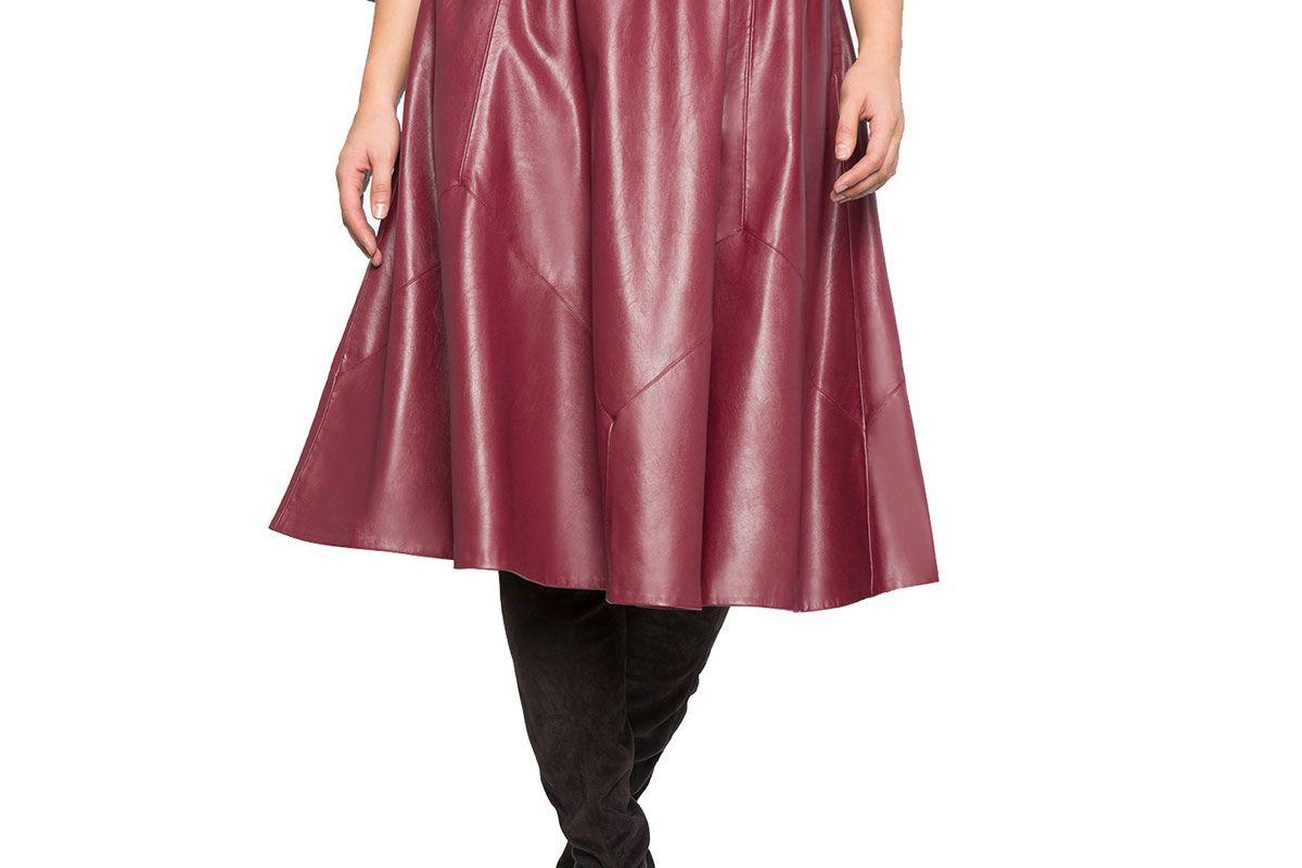 Studio Ruffle Waist Faux Leather Skirt