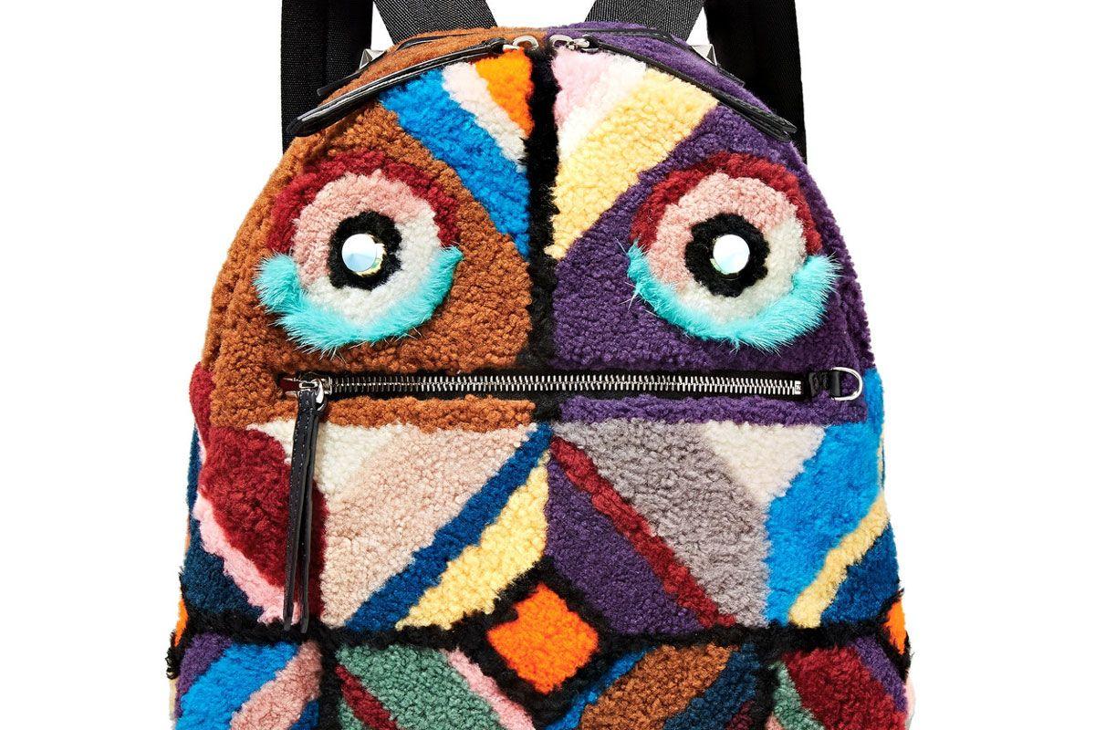 Leather-Trimmed Embellished Faux Shearling Backpack