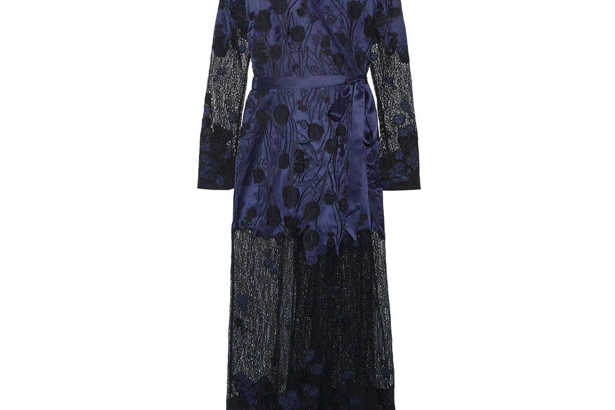Anissa Appliquéd Silk-Satin and Lace Robe