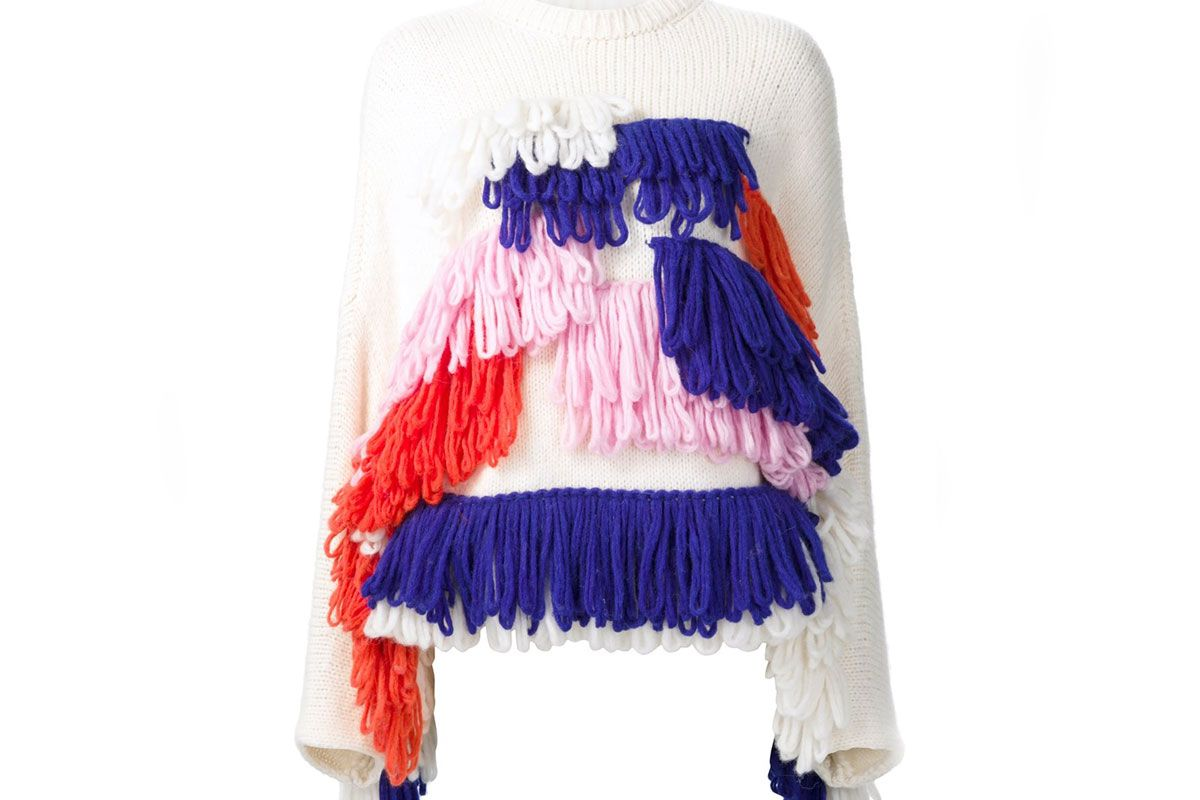 Fringed Panel Pullover