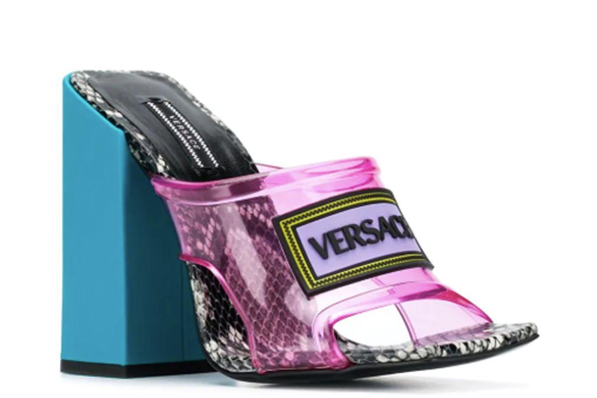 versace vintage logo high heel sandals