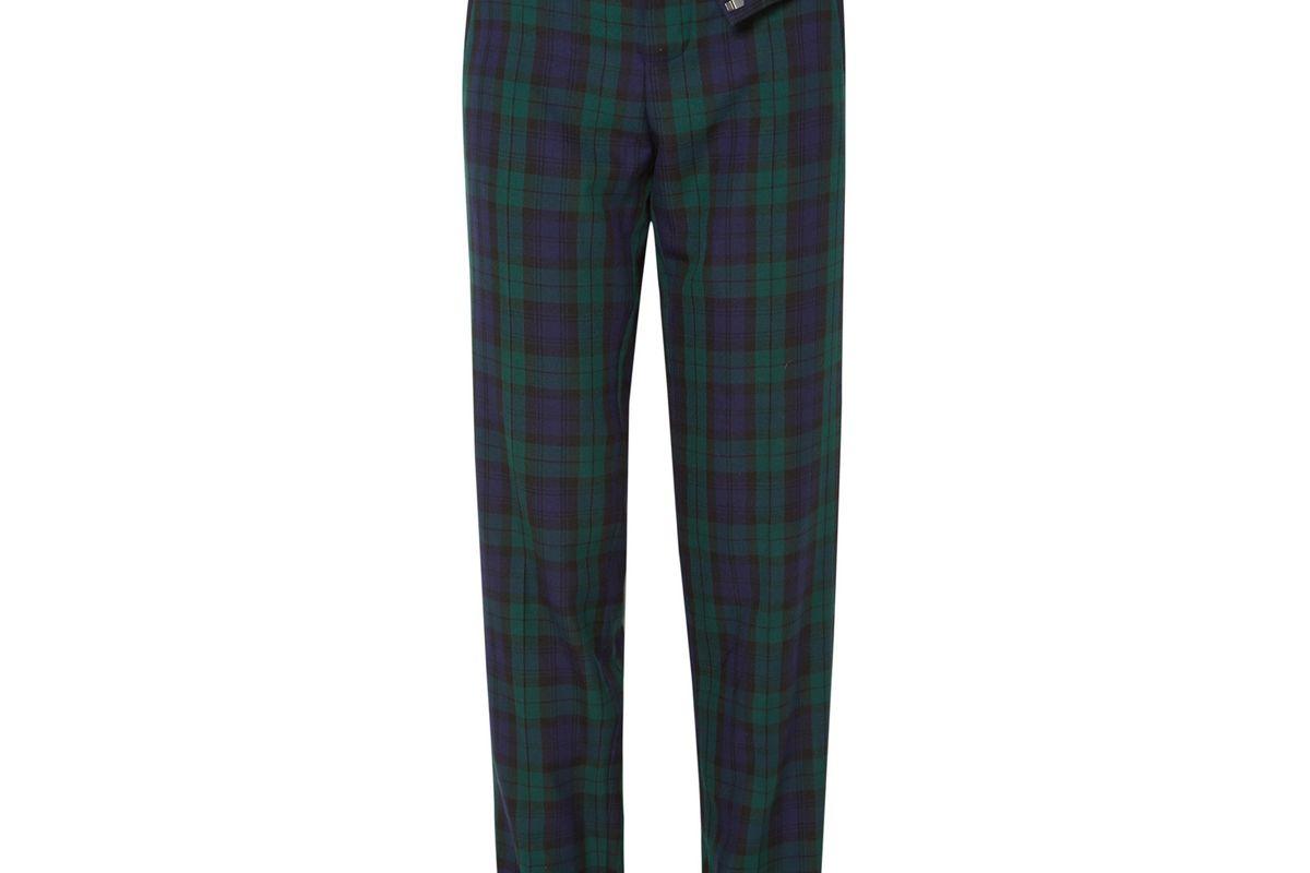 y/project asymmetric plaid twill straight leg pants