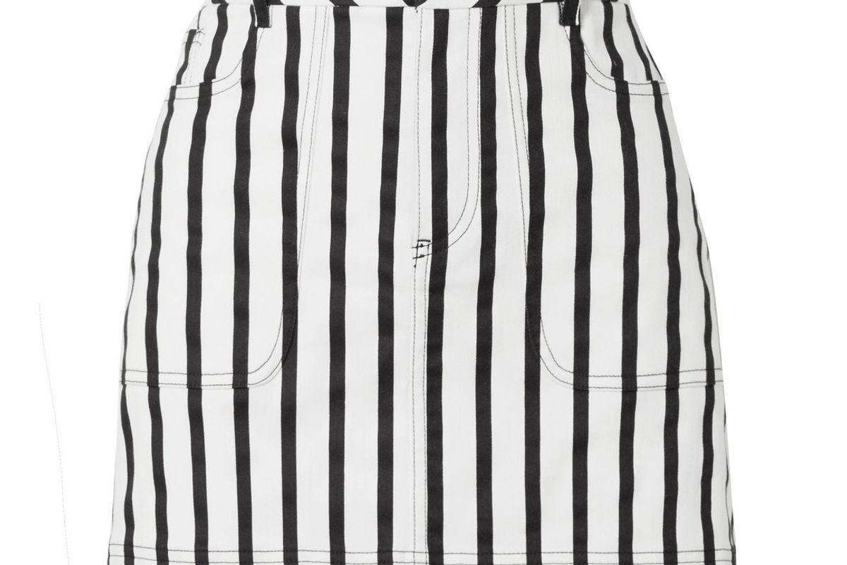 alice and olivia gail striped cotton blend twill mini skirt