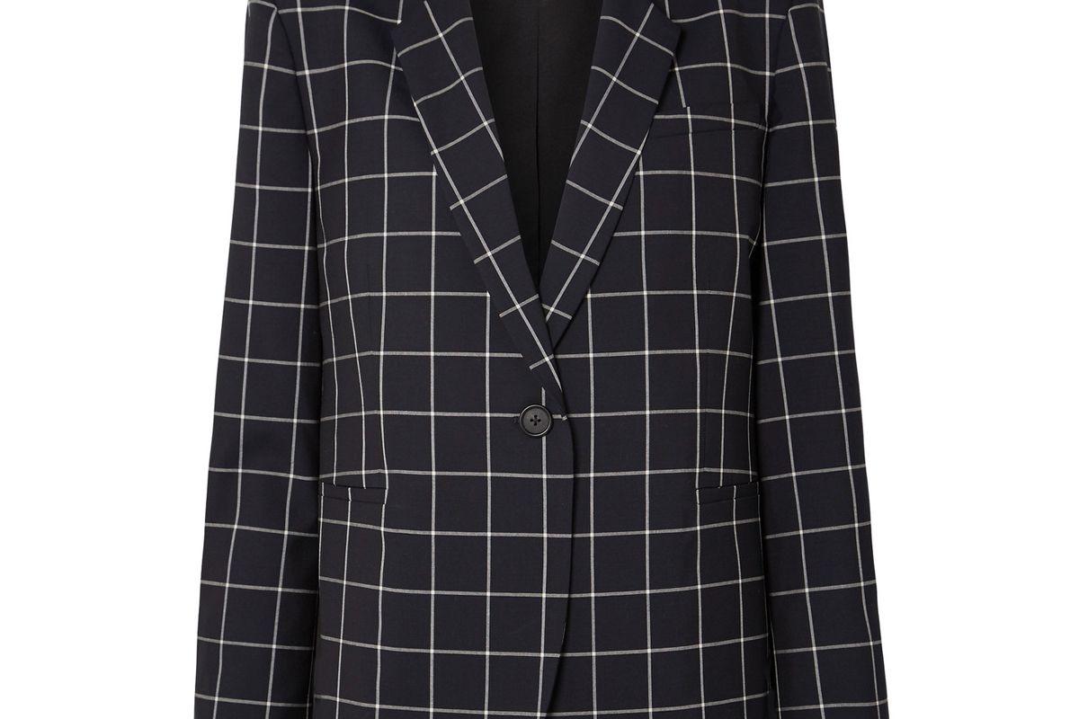 monse lace-up checked wool crepe blazer