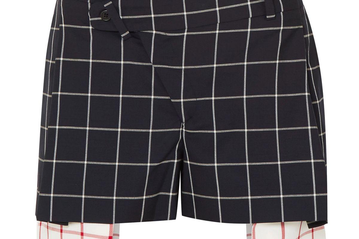 monse asymmetric layered checked wool crepe shorts