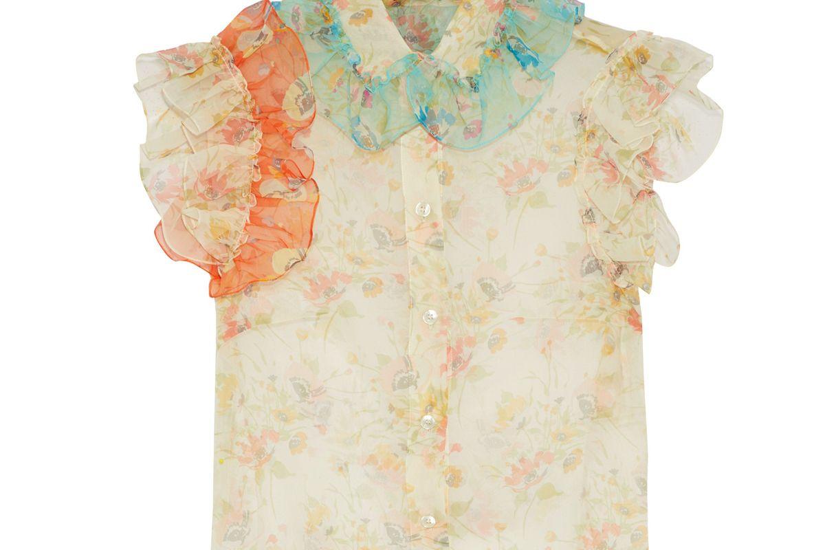 christopher kane ruffle trimmed floral print silk chiffon shirt