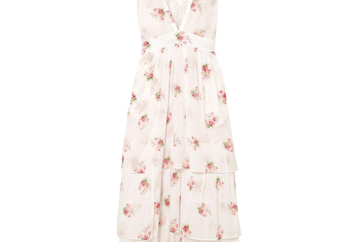 brock collection dale lace trimmed floral print cotton voile midi dress