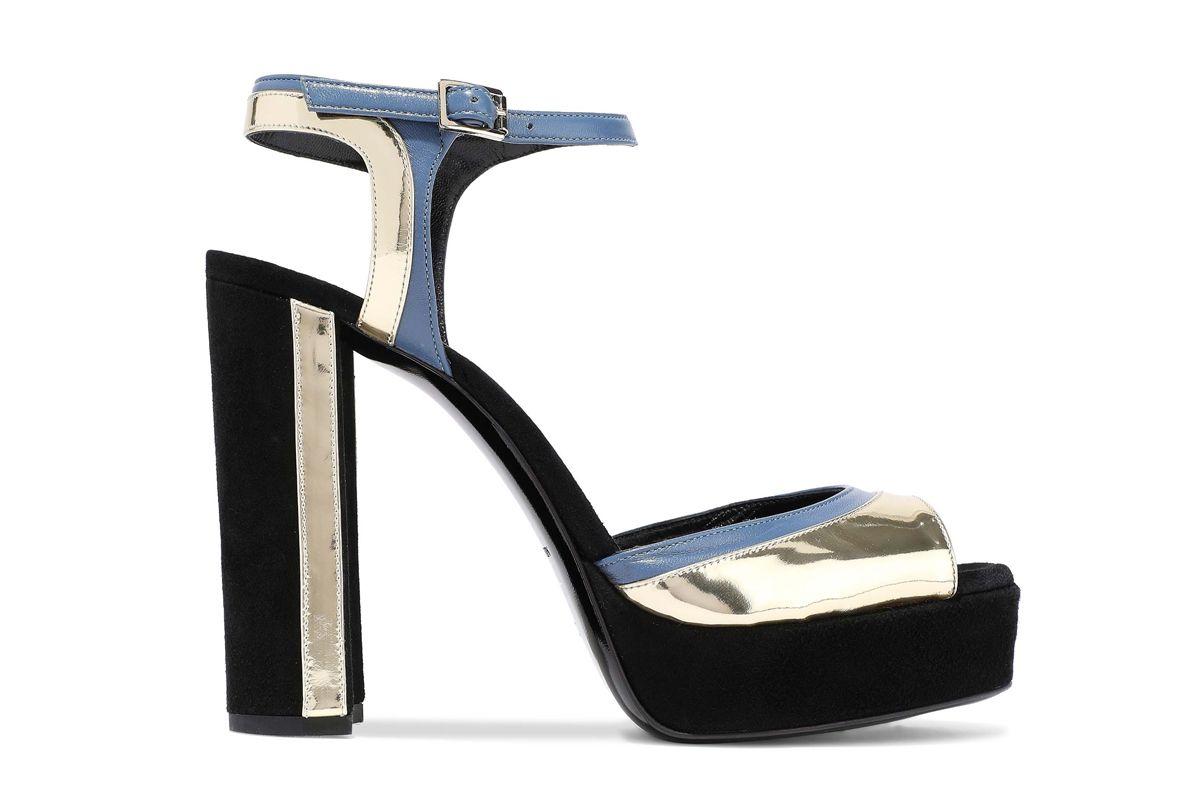 lanvin suede matte and mirrored leather platform sandals