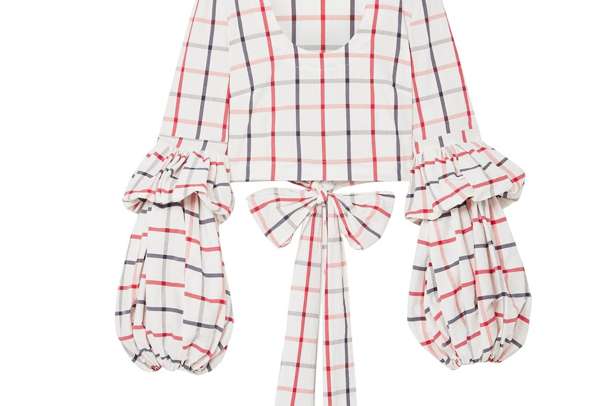 rosie assoulin tiered cropped checked cotton blend top
