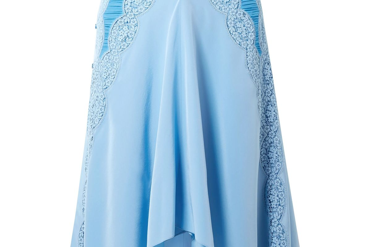 chloe lace trimmed ruched silk crepe de chine skirt