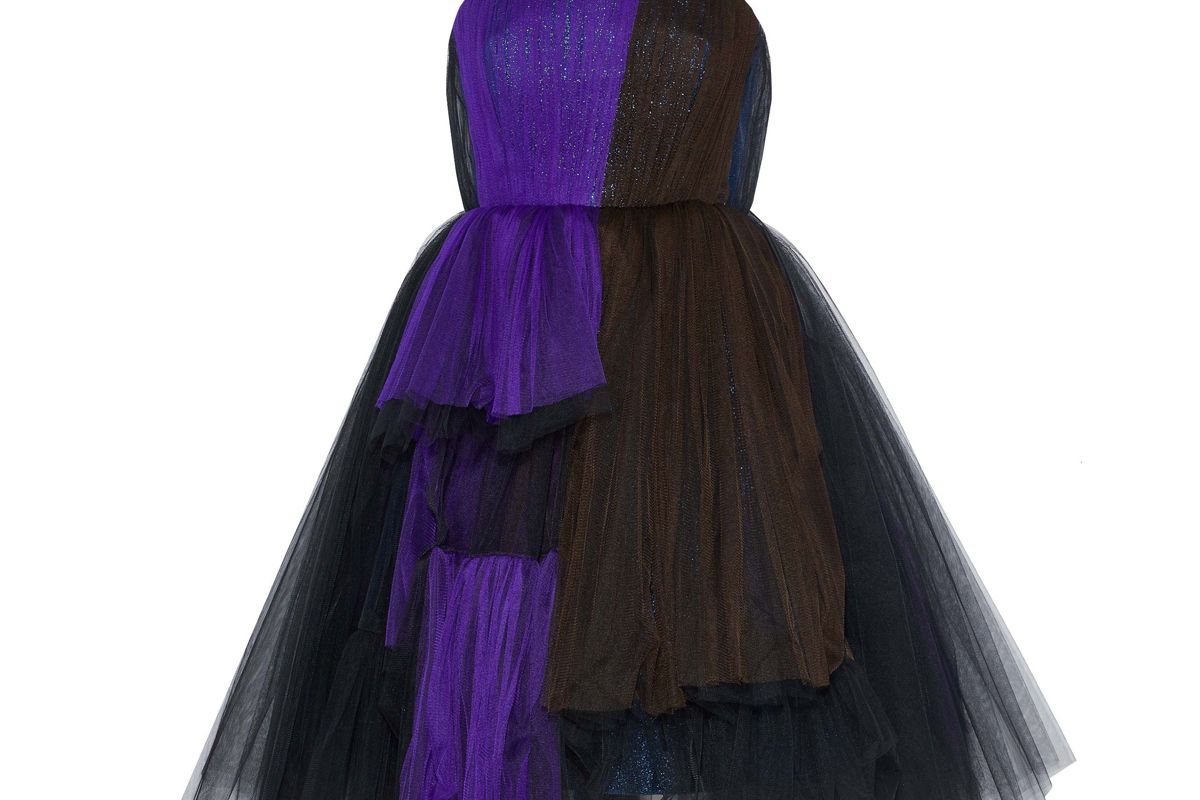delpozo strapless metallic color block silk blend tulle dress