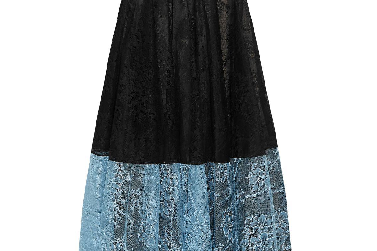 erdem zaneen two tone chantilly lace midi skirt