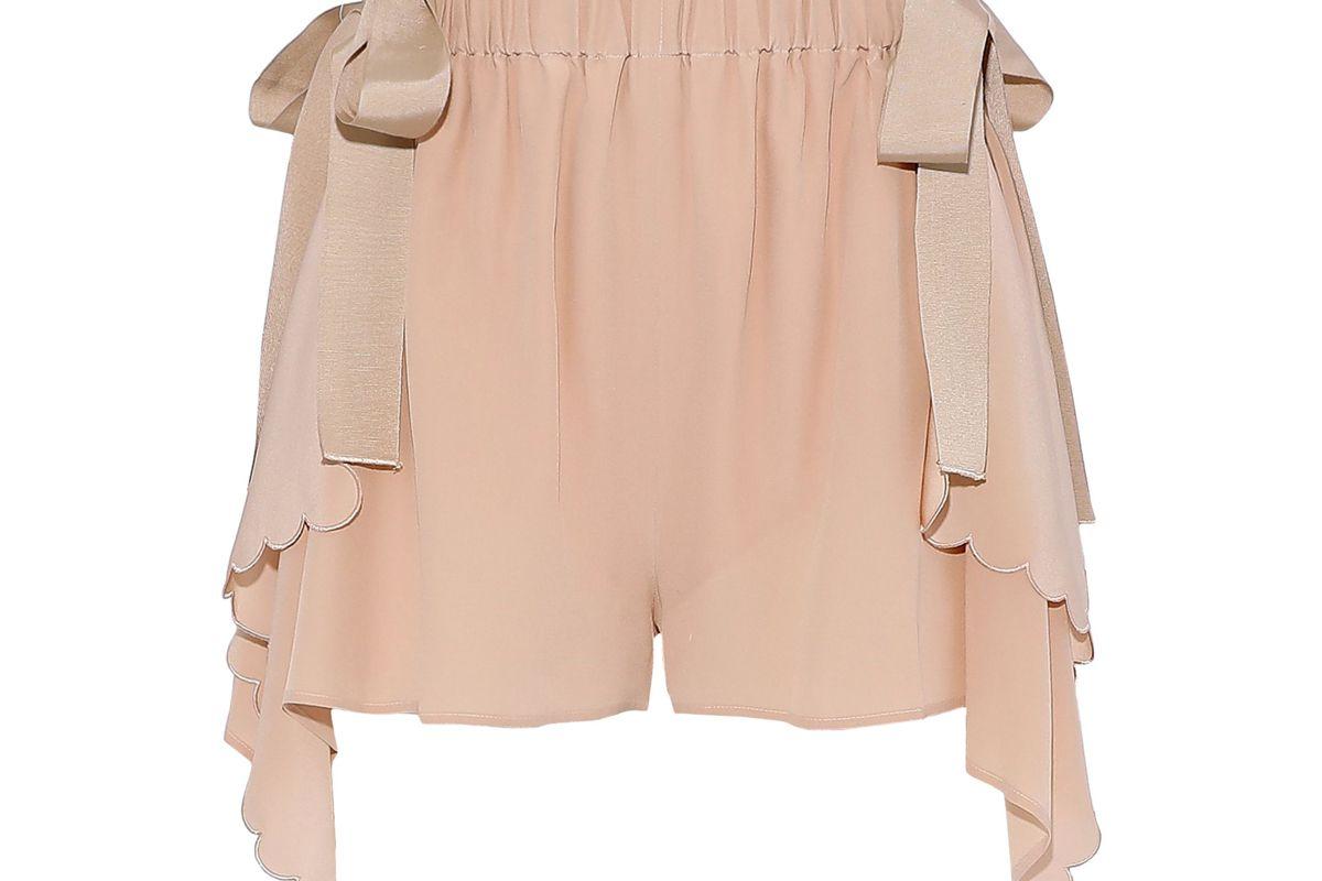 fendi scalloped draped silk crepe de chine shorts