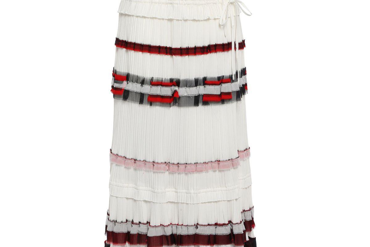 3.1 phillip lim ruffled chiffon trimmed pleated crepe maxi wrap skirt
