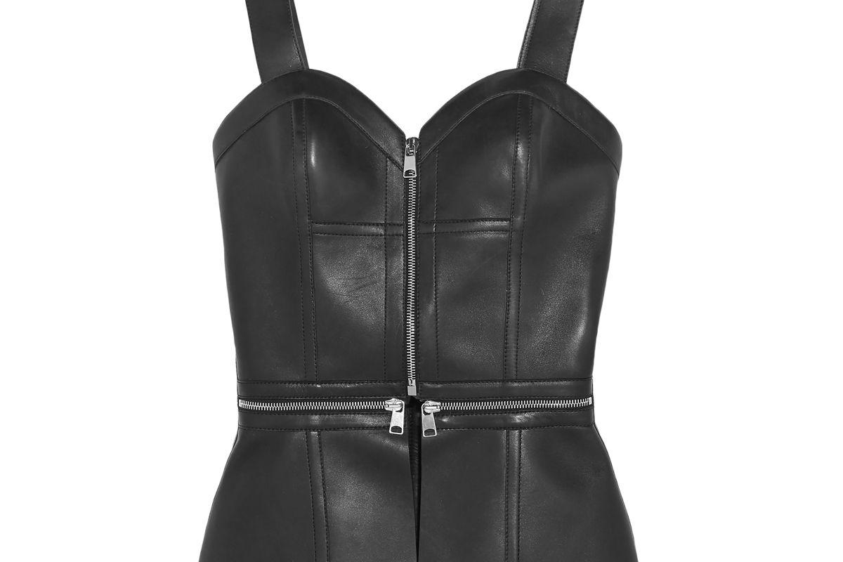 alexander mcqueen zip embellished leather bustier top