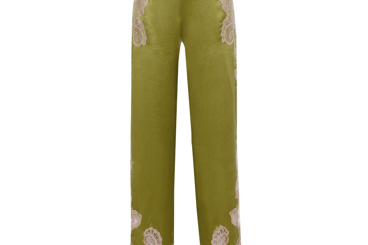 alberta ferretti lace appliqued silk charmeuse wide leg pants
