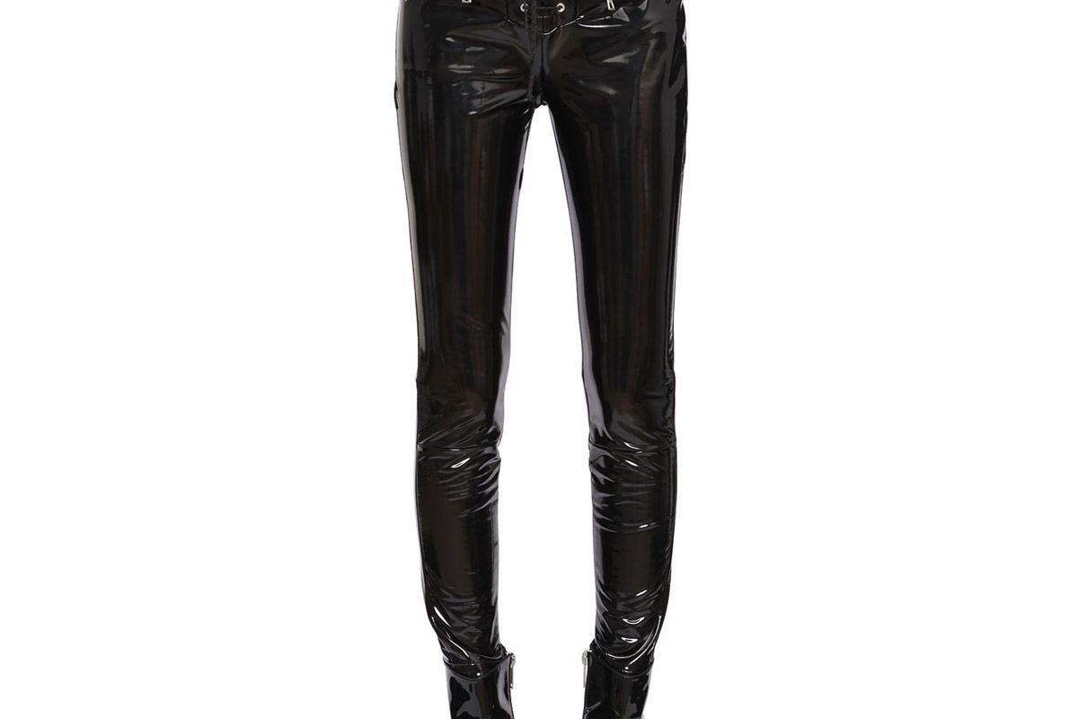 unravel lace-up skinny latex pants