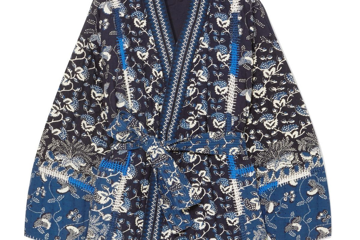 sachi quilted printed cotton blend jacket