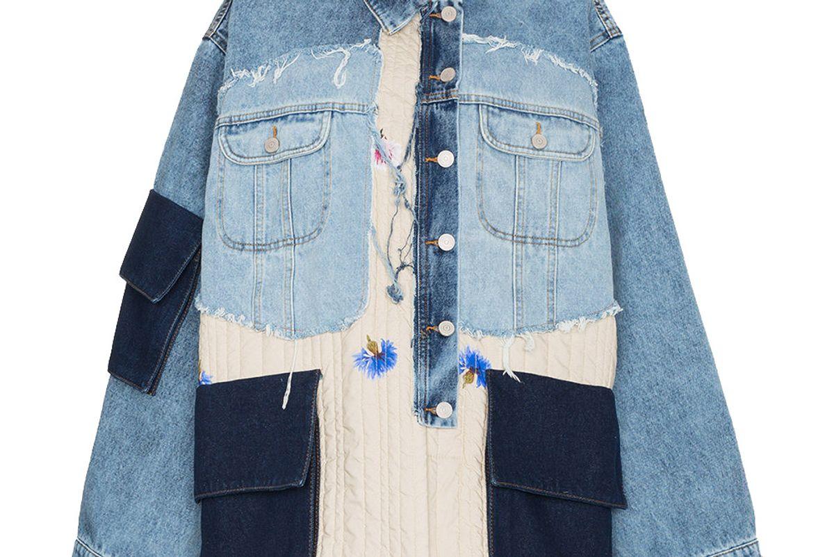 natasha zinko oversized patchwork quilted cotton denim jacket