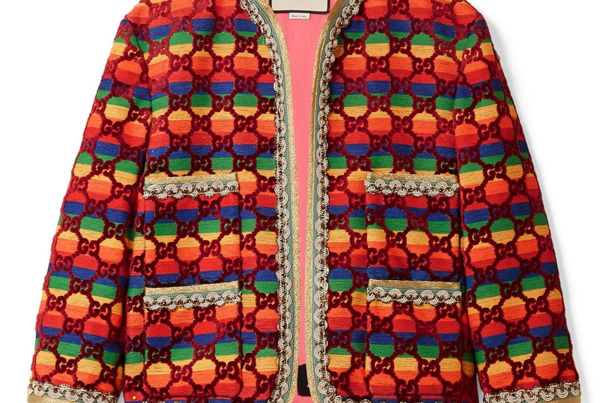 gucci embellished flocked striped woven jacket