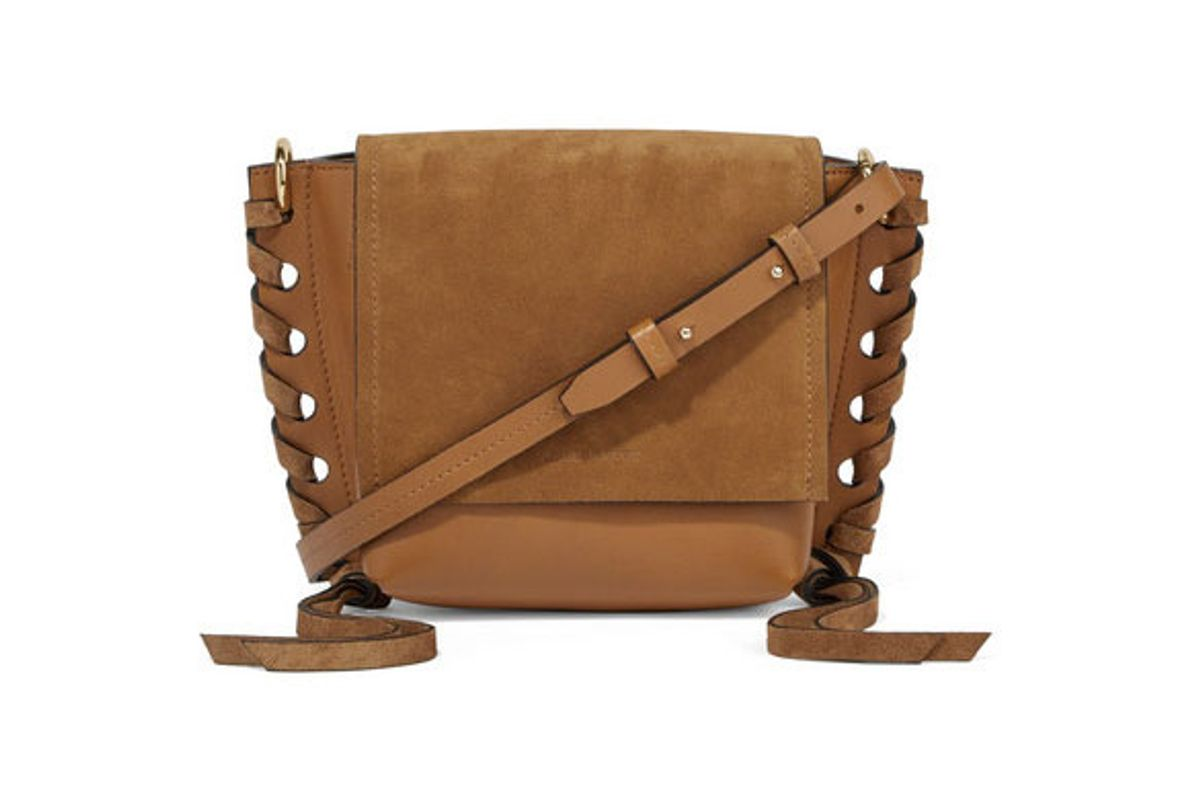 isabe marant kleny whipstitched leather and suede shoulder bag