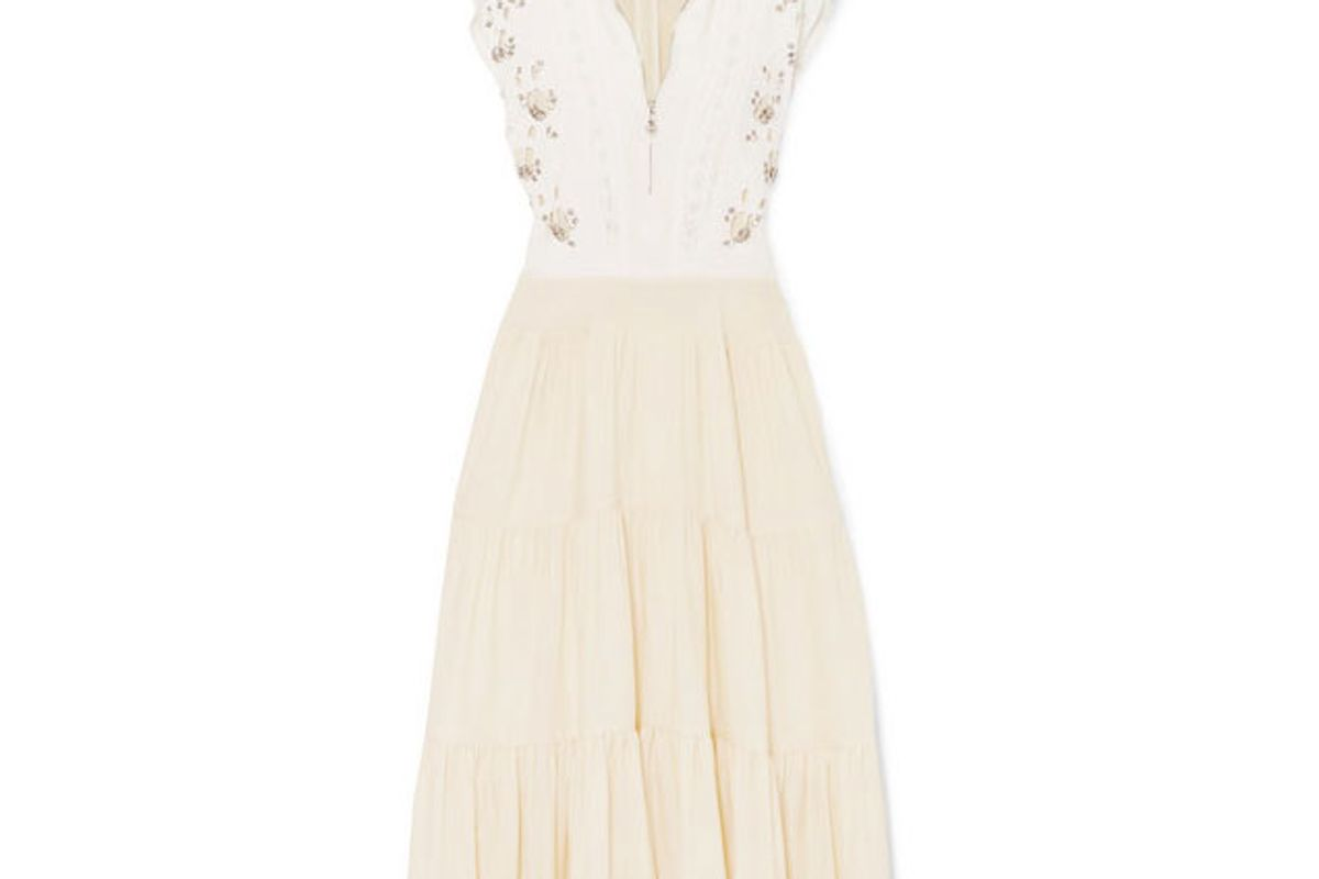 chloe embellished broderie anglaise linen and cady midi dress