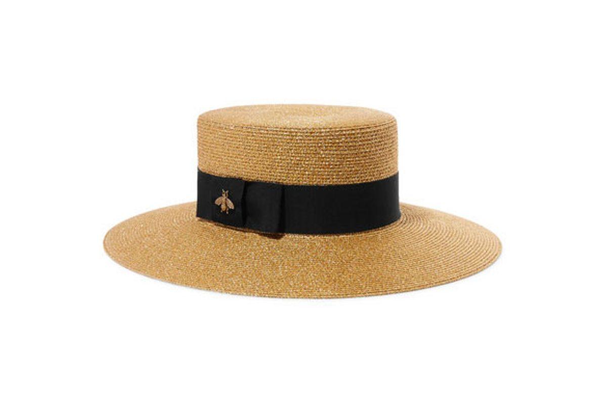 gucci grosgrain-trimmed glittered straw hat
