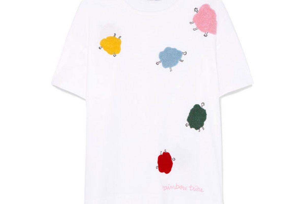 mira mikati appliqued cotton jersey t-shirt