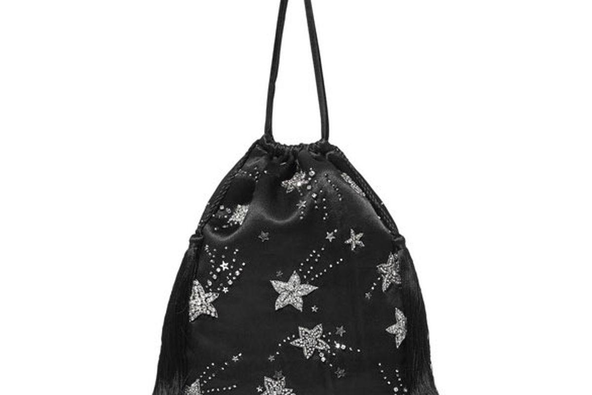 attico tasseled embellished satin pouch