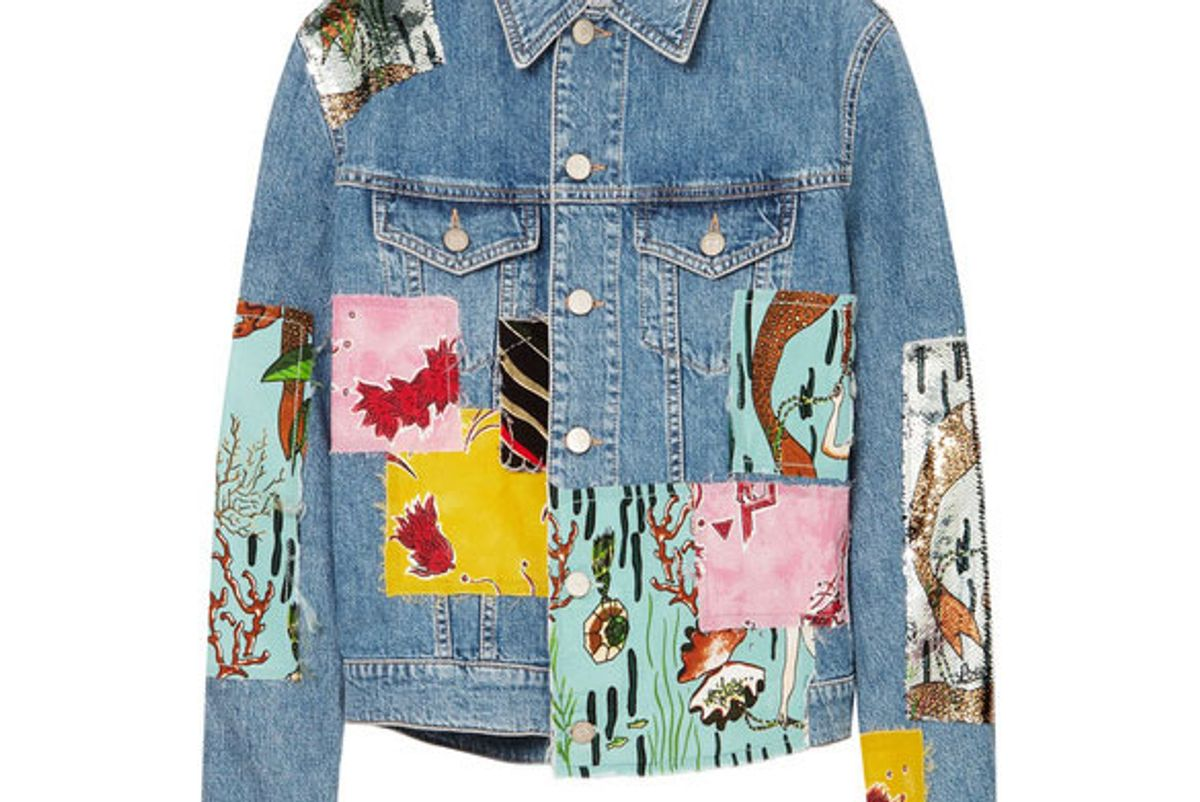 loewe plus paula's ibiza sequined patchwork denim jacket