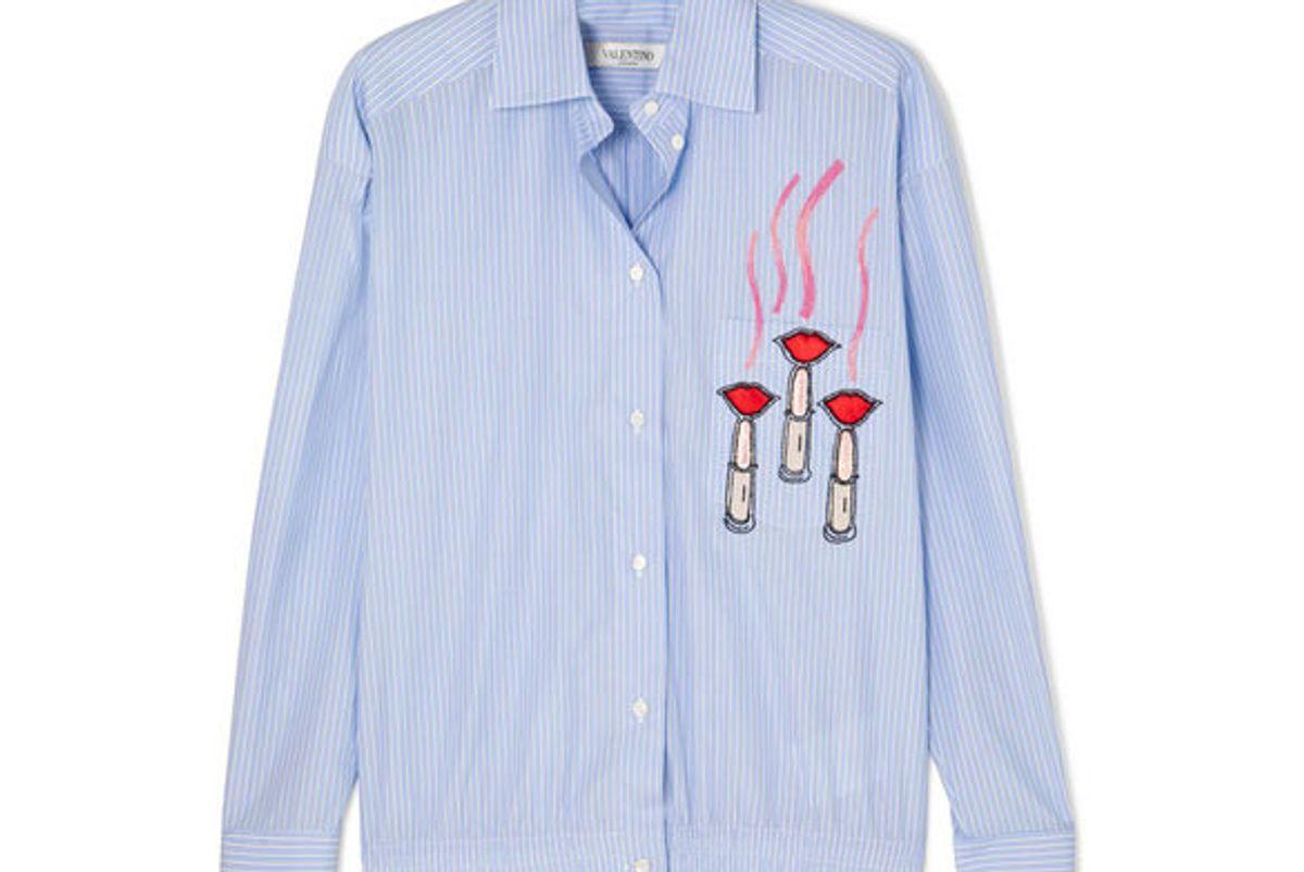 valentino embellished appliqued striped cotton poplin shirt