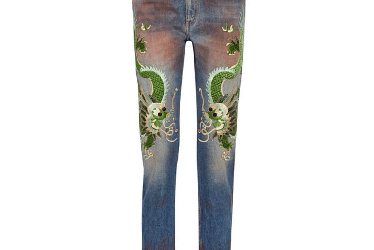 gucci appliqued distressed boyfriend jeans