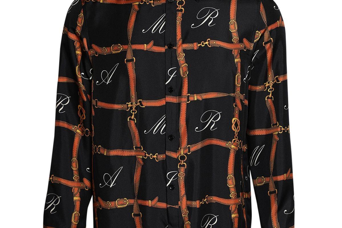 amiri silk belt grid print shirt
