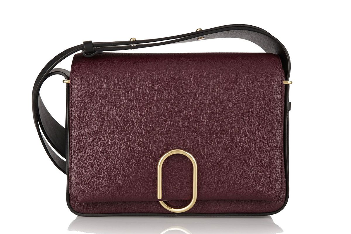 Alix Smooth and Textured-Leather Shoulder Bag