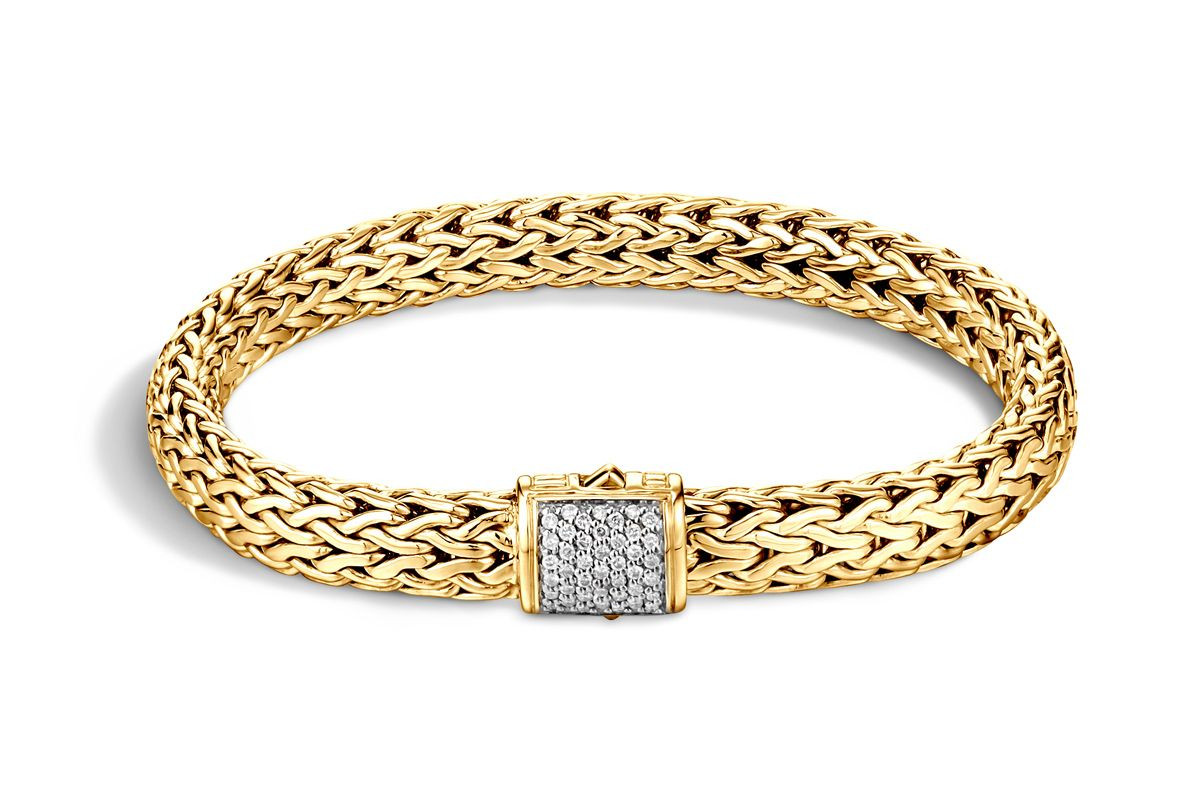 Classic Chain Bracelet with Diamonds in Gold